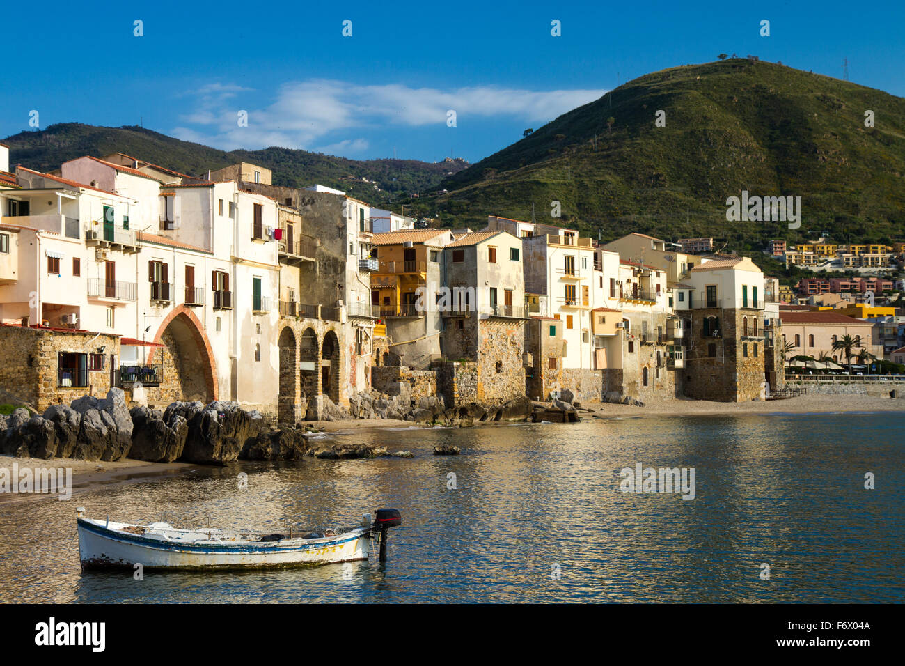 Harbor of Cefalu, Sicily, Italy - Stock Image