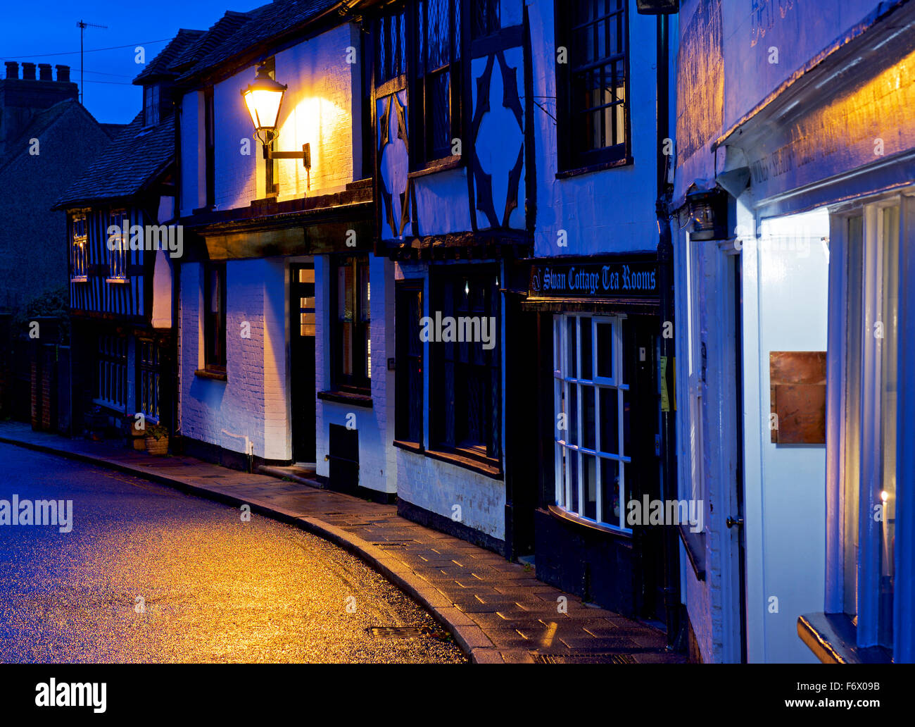 Street in the town of Rye, at night, Kent, England UK - Stock Image