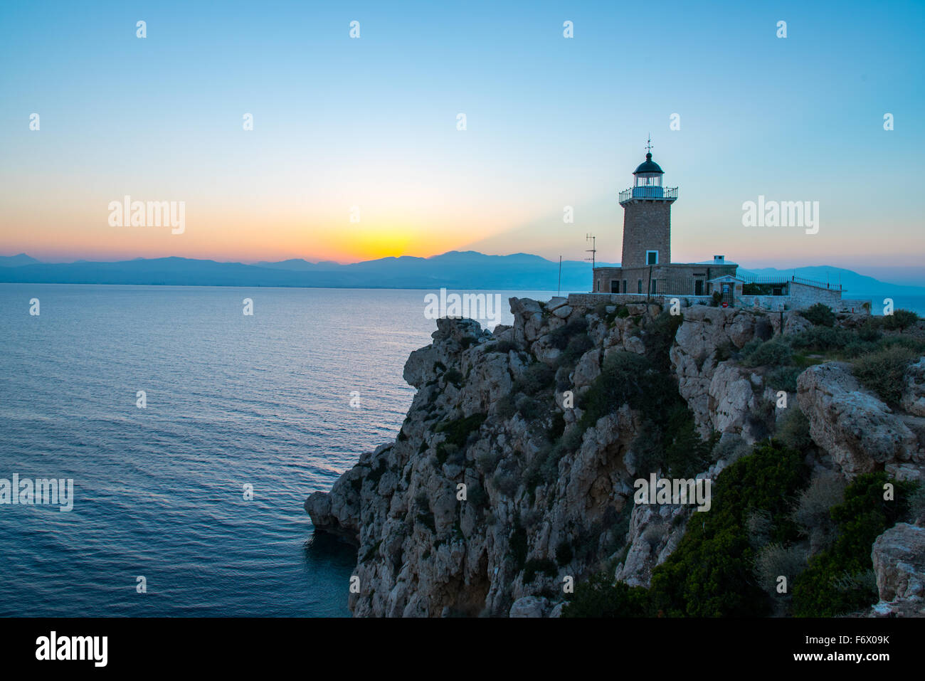 Lighthouse at Melagavi Cape near Loutraki in Greece! Stock Photo