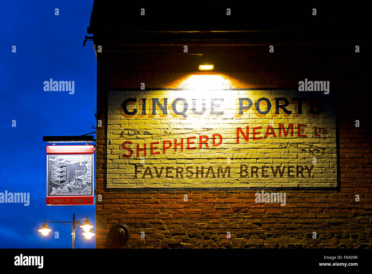 Pub sign in the town of Rye, Kent, England UK - Stock Image