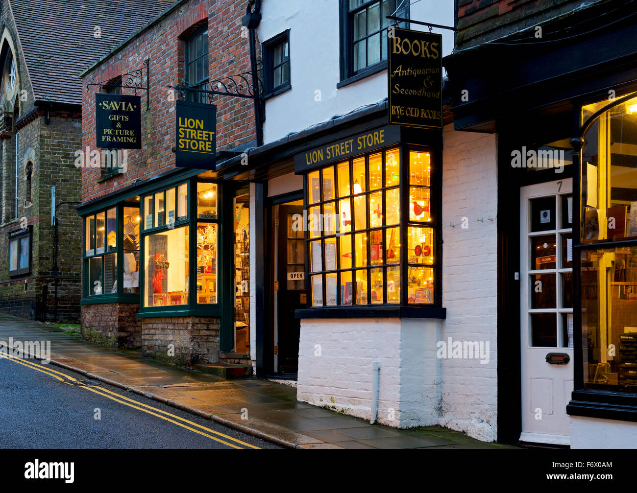 Lion Street, Rye, at dusk, Kent England UK - Stock Image
