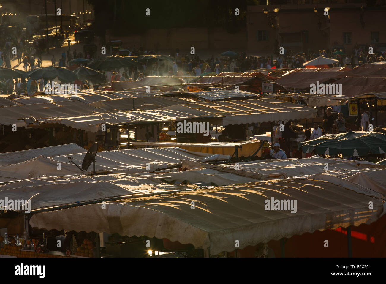 Roofs of market stands on the square Jamaa el Fna in Marrakesh Stock Photo