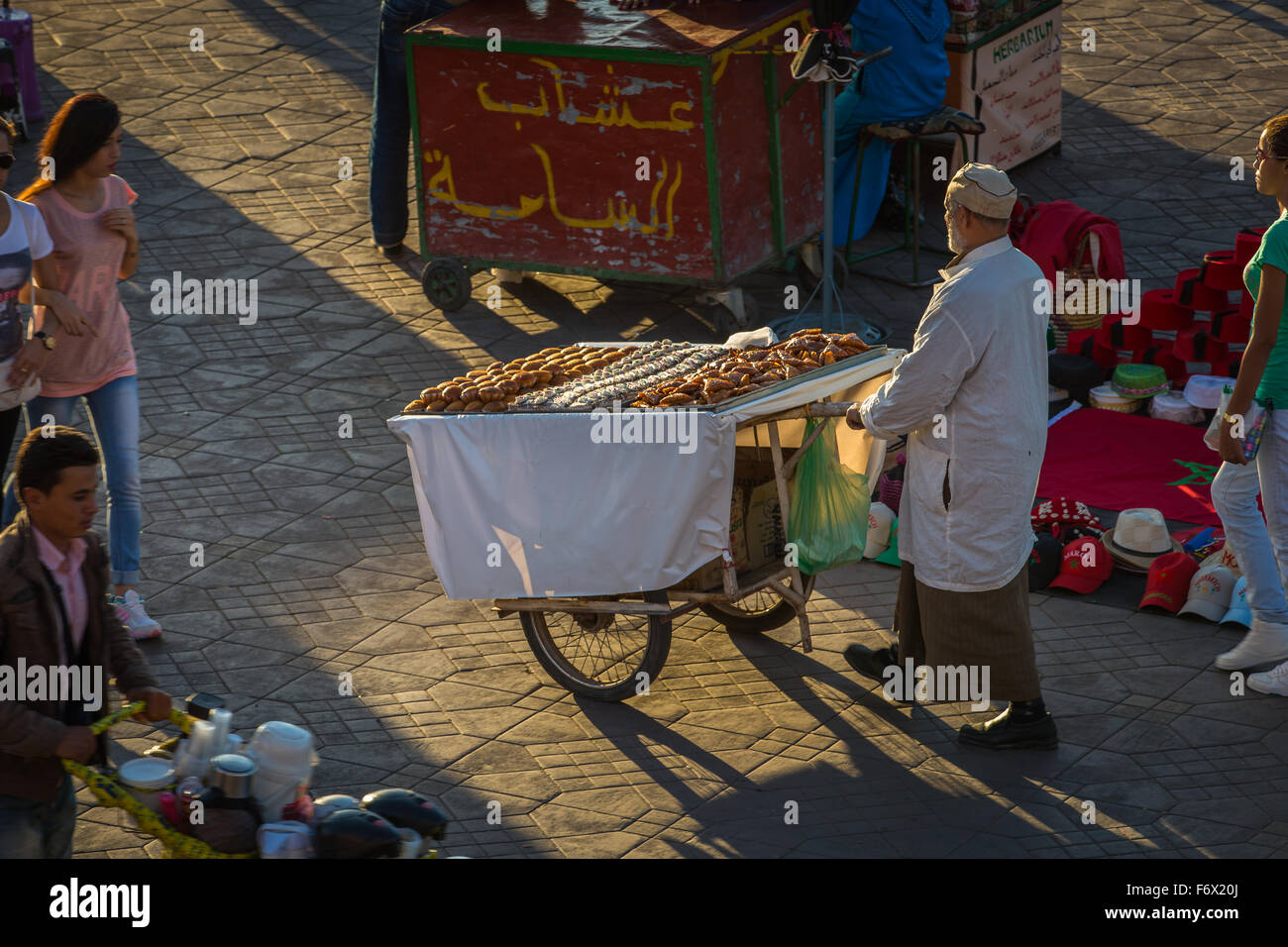 Traditional sale on the square Jamaa el Fna in Marrakesh Stock Photo