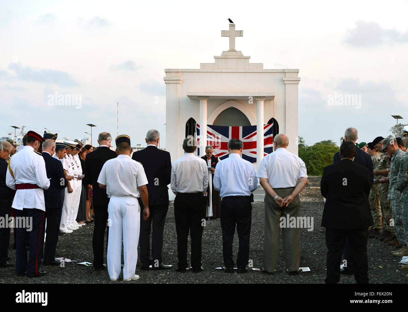 Anglican Bishop of Ethiopia, Grant LeMarquand delivers the closing prayer during Remembrance Day service honoring - Stock Image