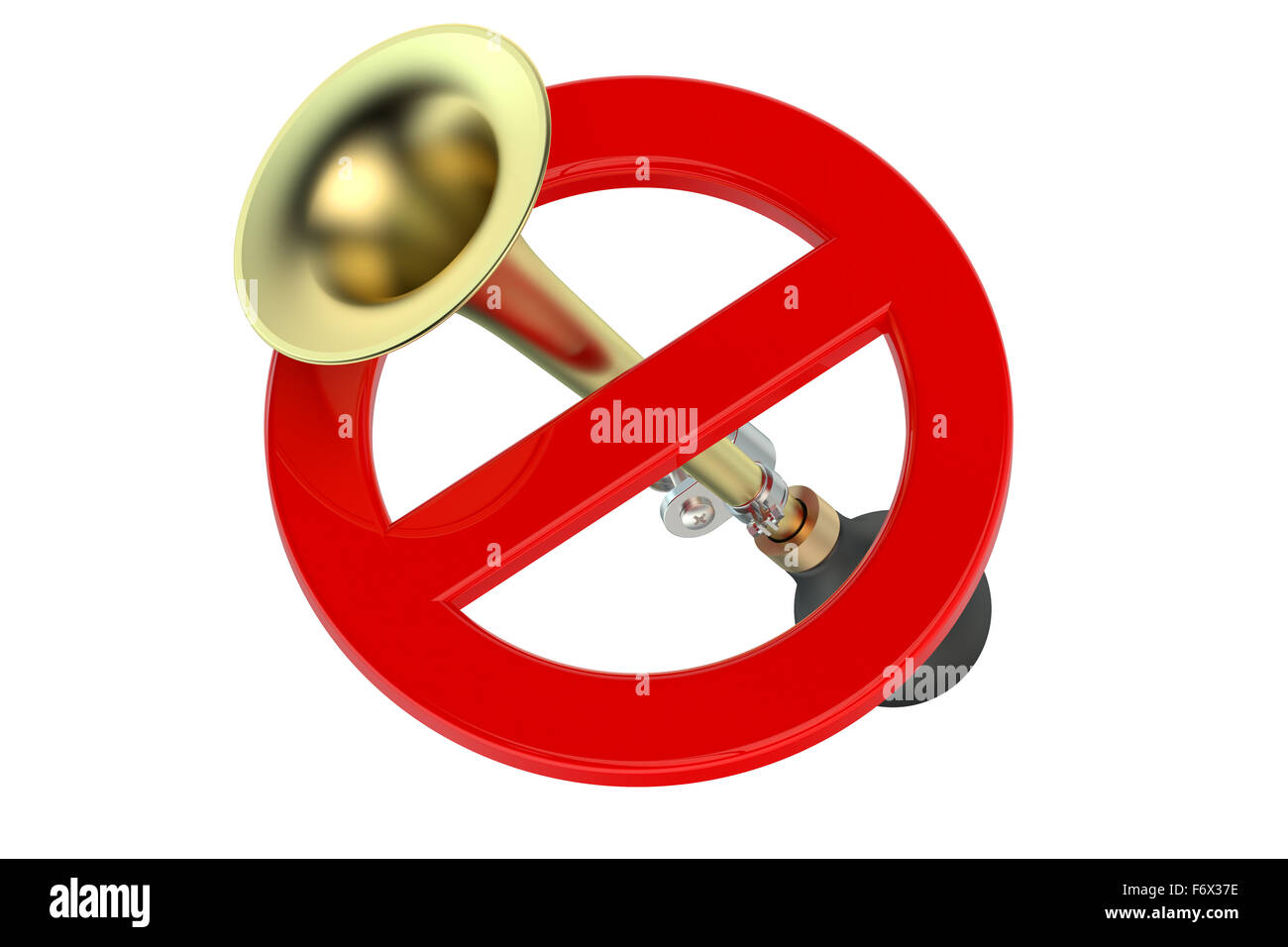 do not honk or blowing concept isolated on white background - Stock Image