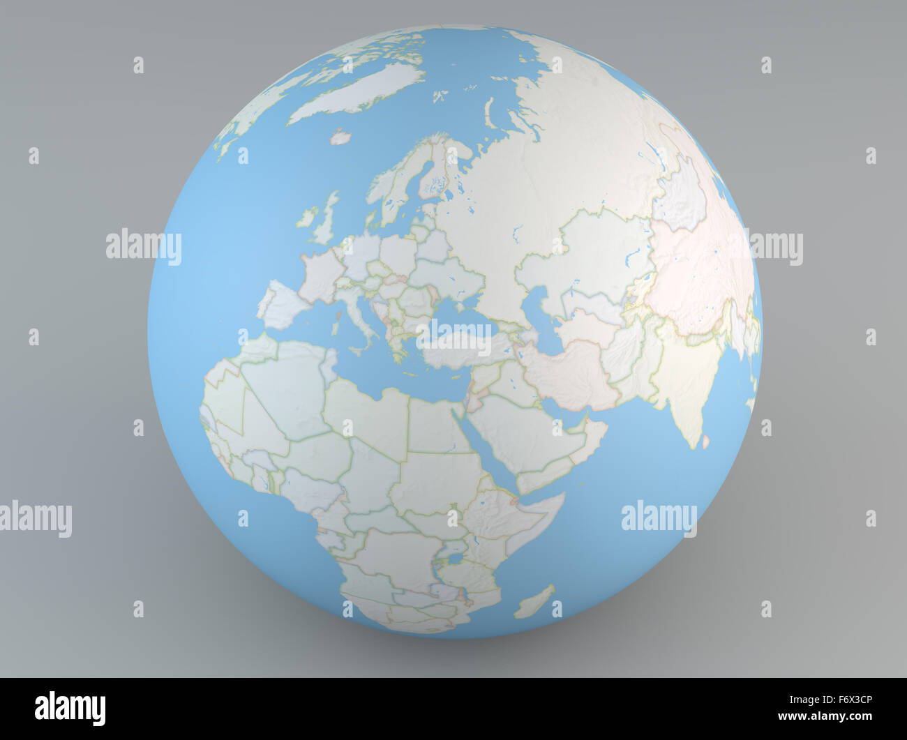 Planisphere map globe, political map, Europe North Africa and Middle ...