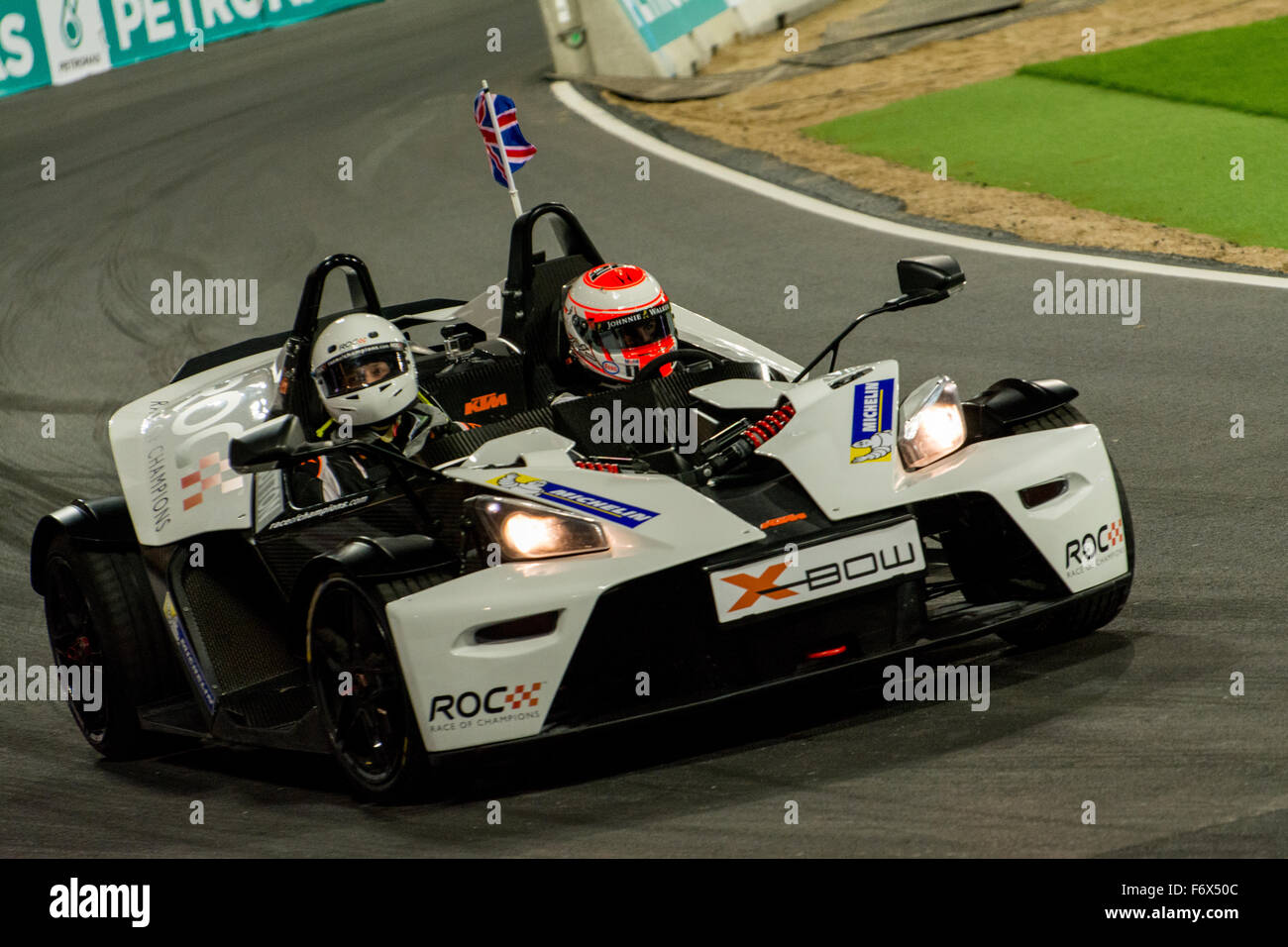 London, UK. 20th Nov, 2015. 2009 Formula 1 World Champion Jenson Button of England drives during ROC Nations Cup Stock Photo