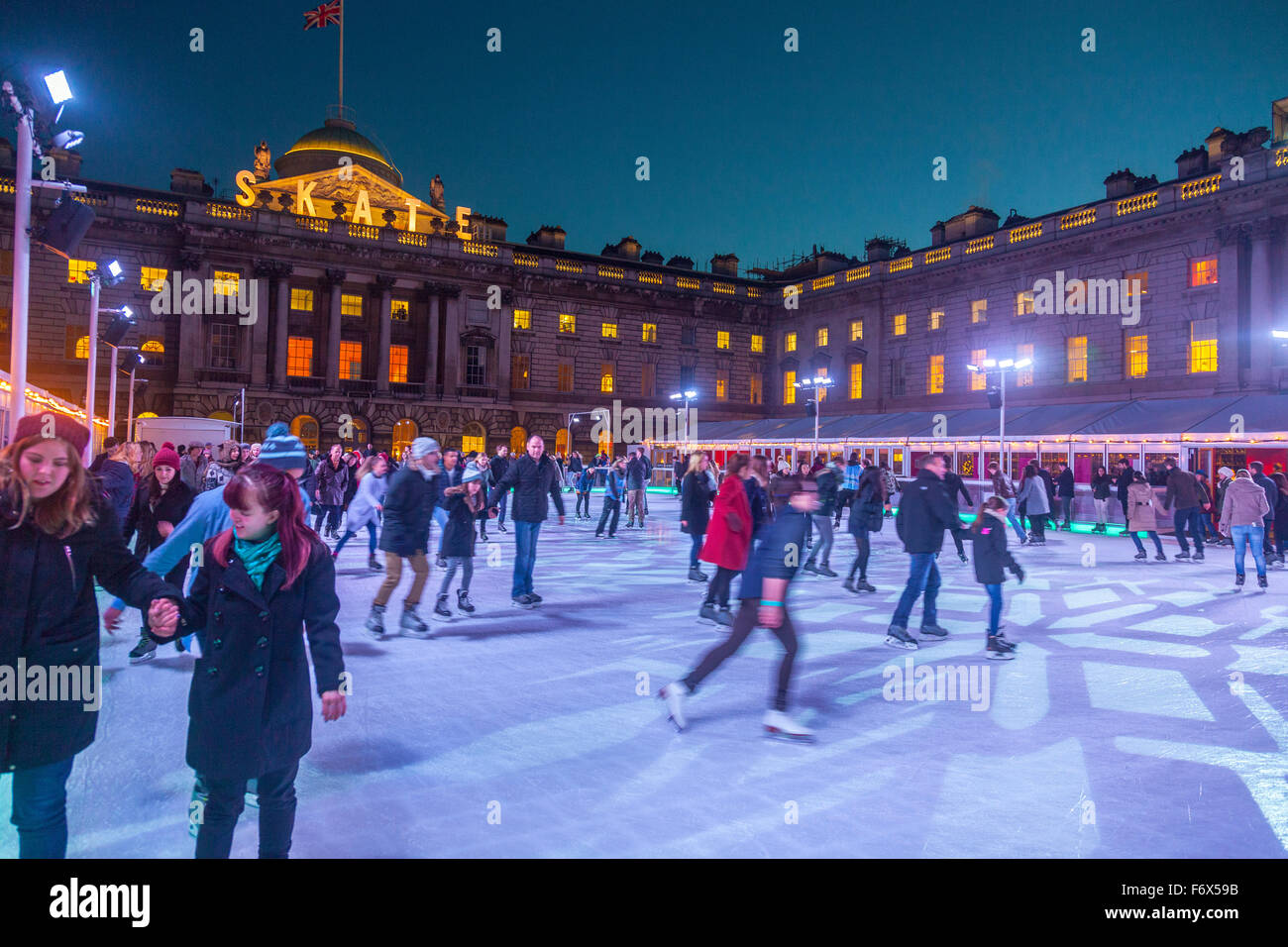 Somerset House Ice Rink at Xmas time - Stock Image