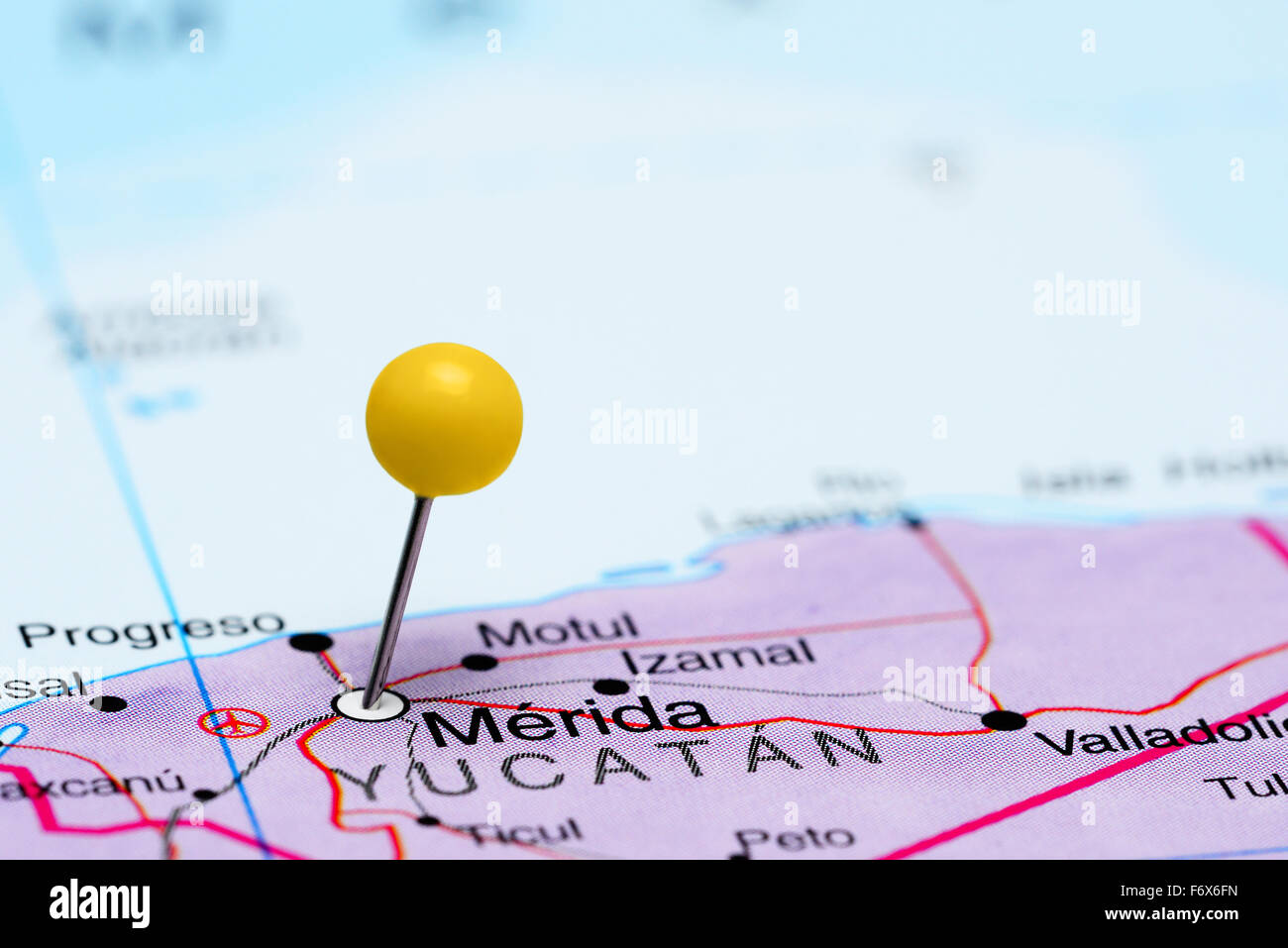 Merida Pinned On A Map Of Mexico Stock Photo 90315673 Alamy