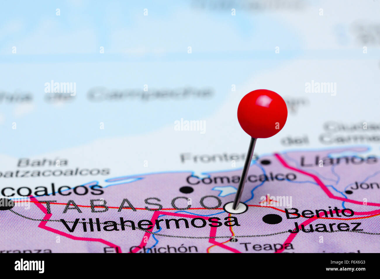Villahermosa Pinned On A Map Of Mexico Stock Photo 90315683 Alamy