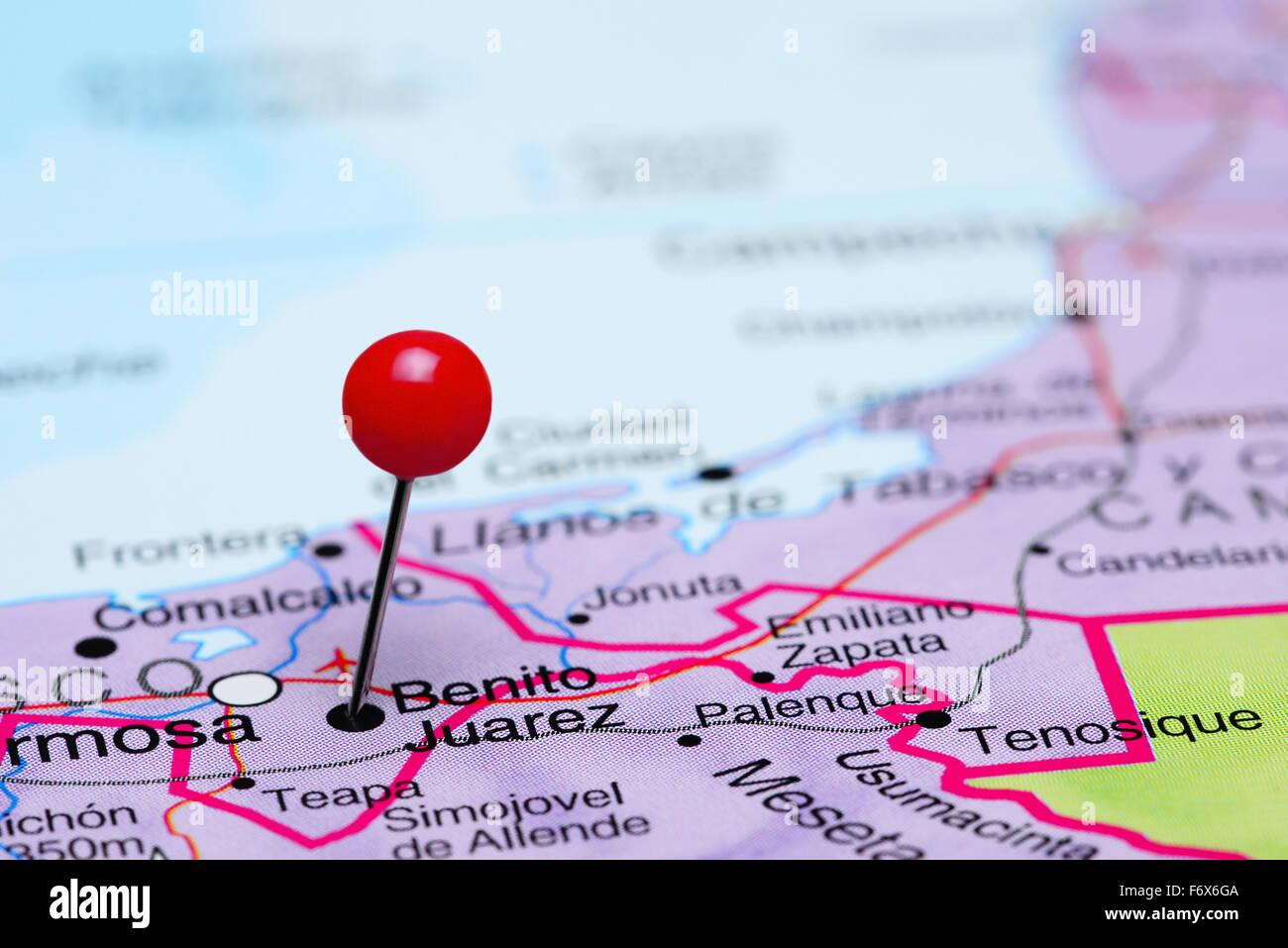 Benito Juarez Pinned On A Map Of Mexico Stock Photo 90315690 Alamy