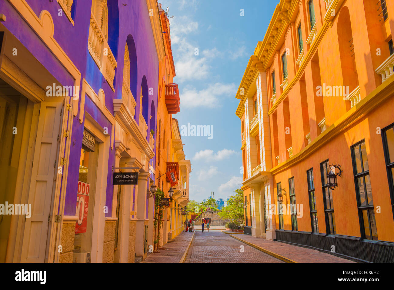 Old town Cartagena, Bolivar, Colombia Colonial Spanish buildings World Heritage Site - Stock Image