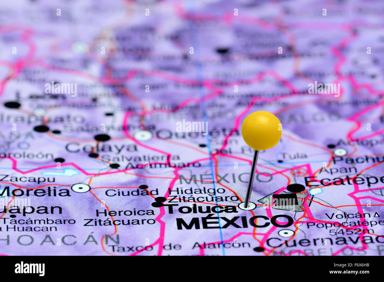 Toluca pinned on a map of Mexico Stock Photo 90315719 Alamy