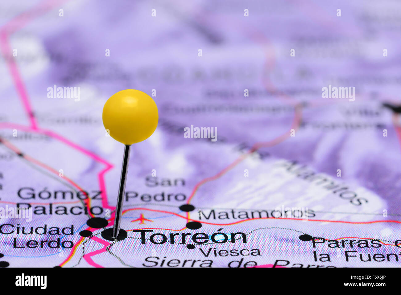 Torreon Pinned On A Map Of Mexico Stock Photo 90315758 Alamy