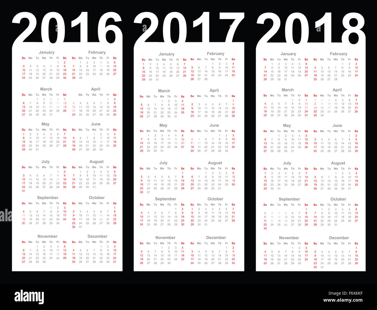 Calendar for 2016, 2017 and 2018 year Stock Photo: 90315779   Alamy