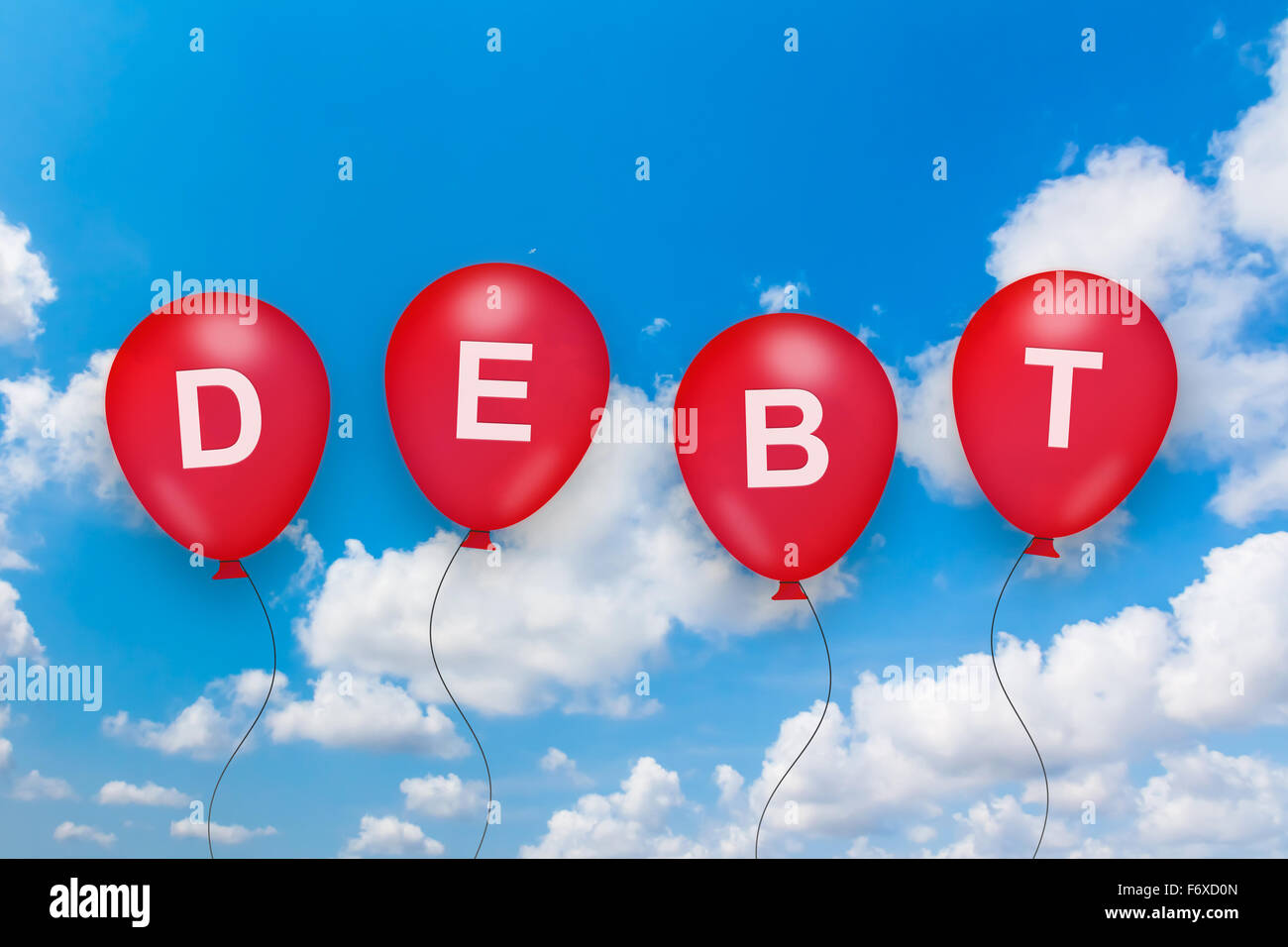 debt or loan text on balloon with blue sky background - Stock Image