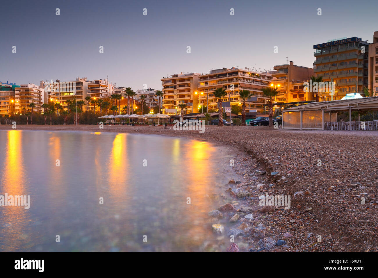 Beach in Palaio Faliro and the seafront of Athens, Greece - Stock Image