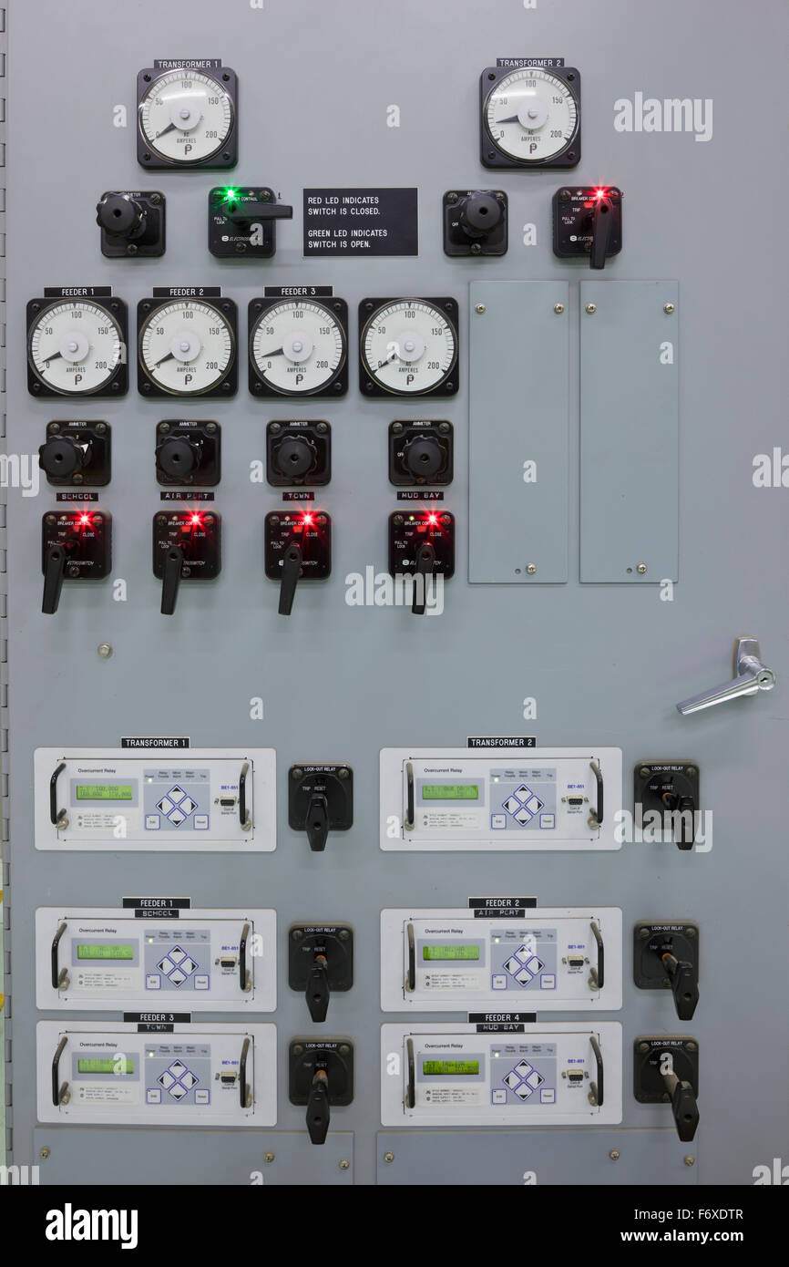 Dials and switches on a diesel generator control panel, electrical ...