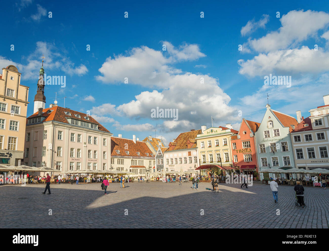 main square of tallinn old town in estonia - Stock Image