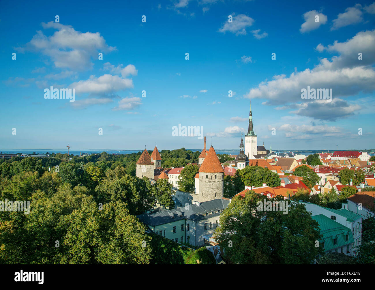 view of tallinn old town in estonia - Stock Image