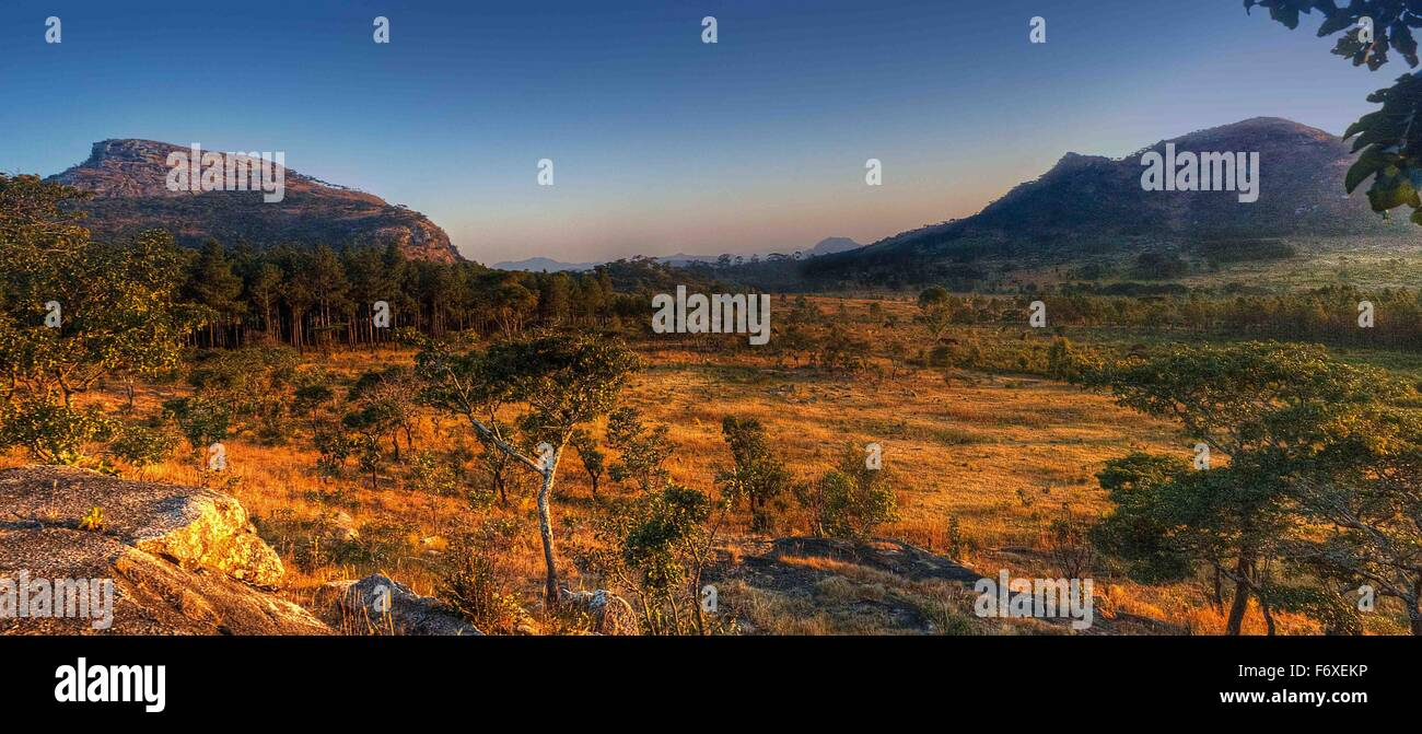 landscape of mountains and trees within Chongoni Forest Dedza Malawi - Stock Image