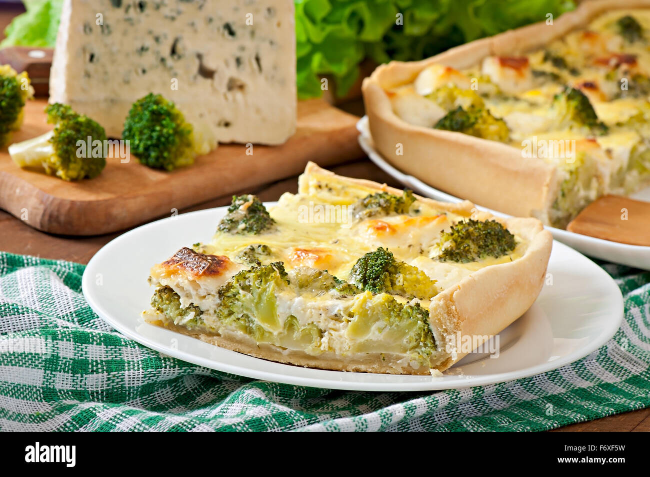 Quiche with broccoli and feta cheese - Stock Image