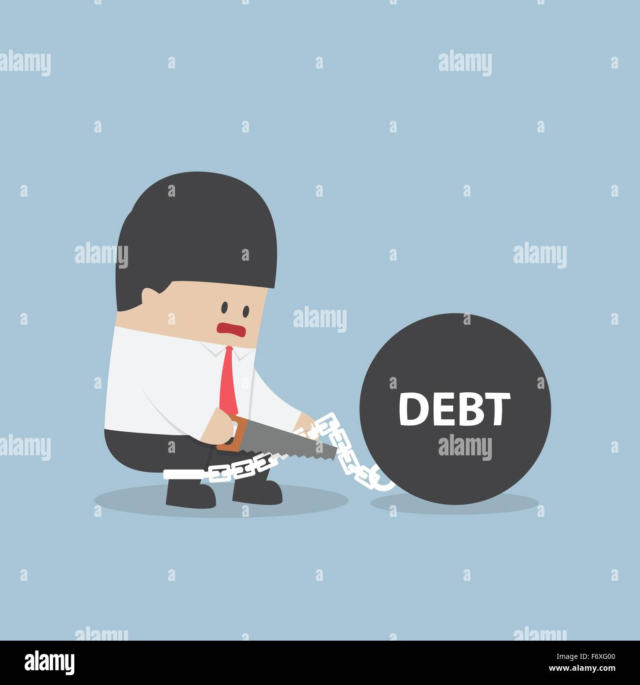 Businessman trying to destroy debt chain by hacksaw, VECTOR, EPS10 - Stock Vector