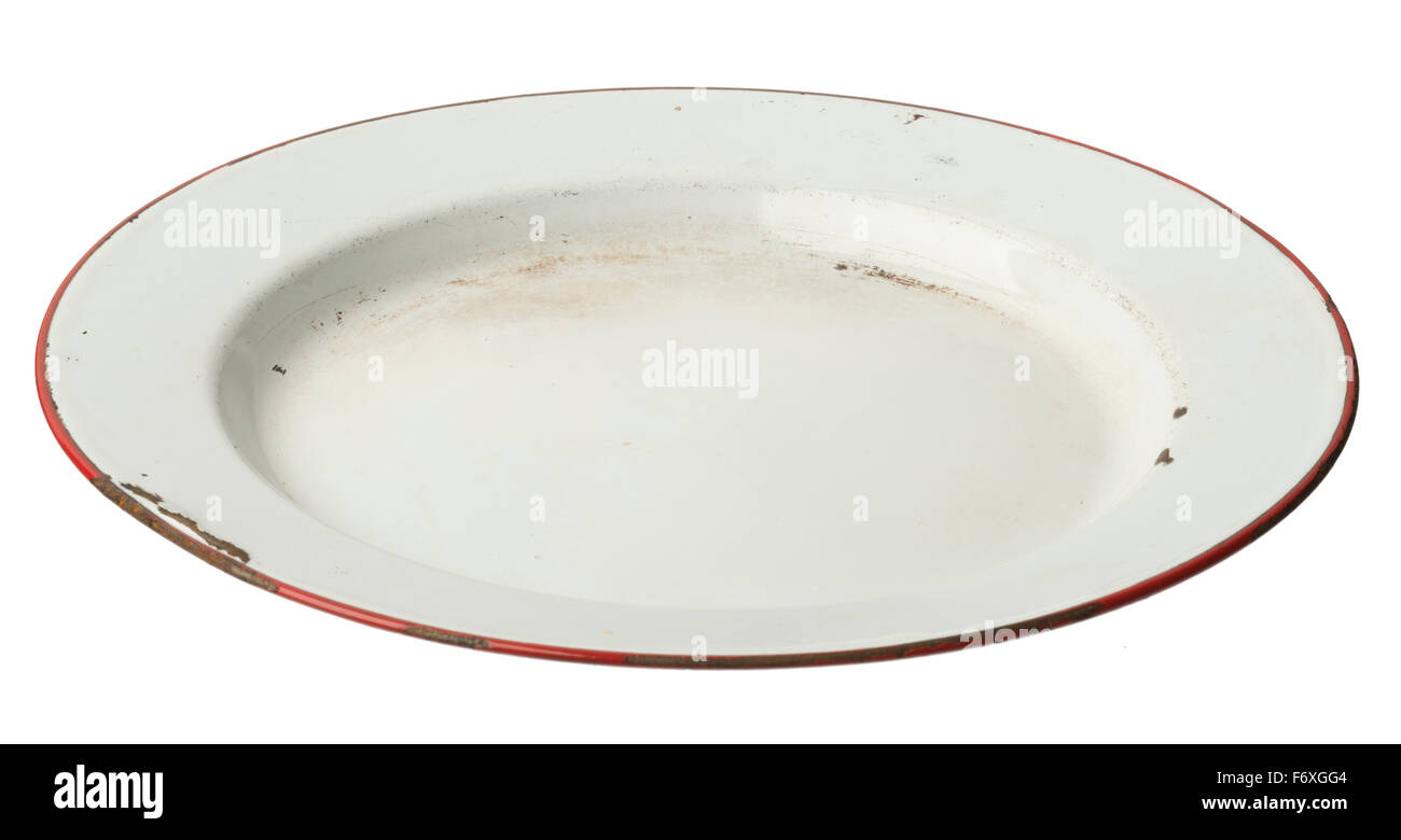 Enamel plate. Enamelled metal plate with red painted rim. - Stock Image