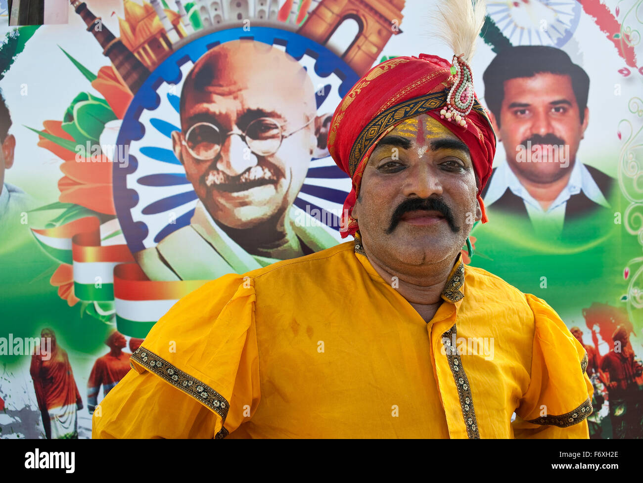 Folk artist participating at a procession at Machilipatnam ( India) - Stock Image