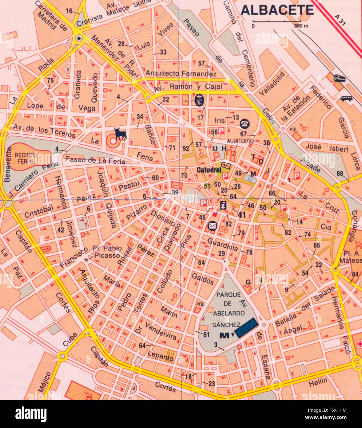 Street map Of The Spanish City Of Albacete Spain Stock Photo