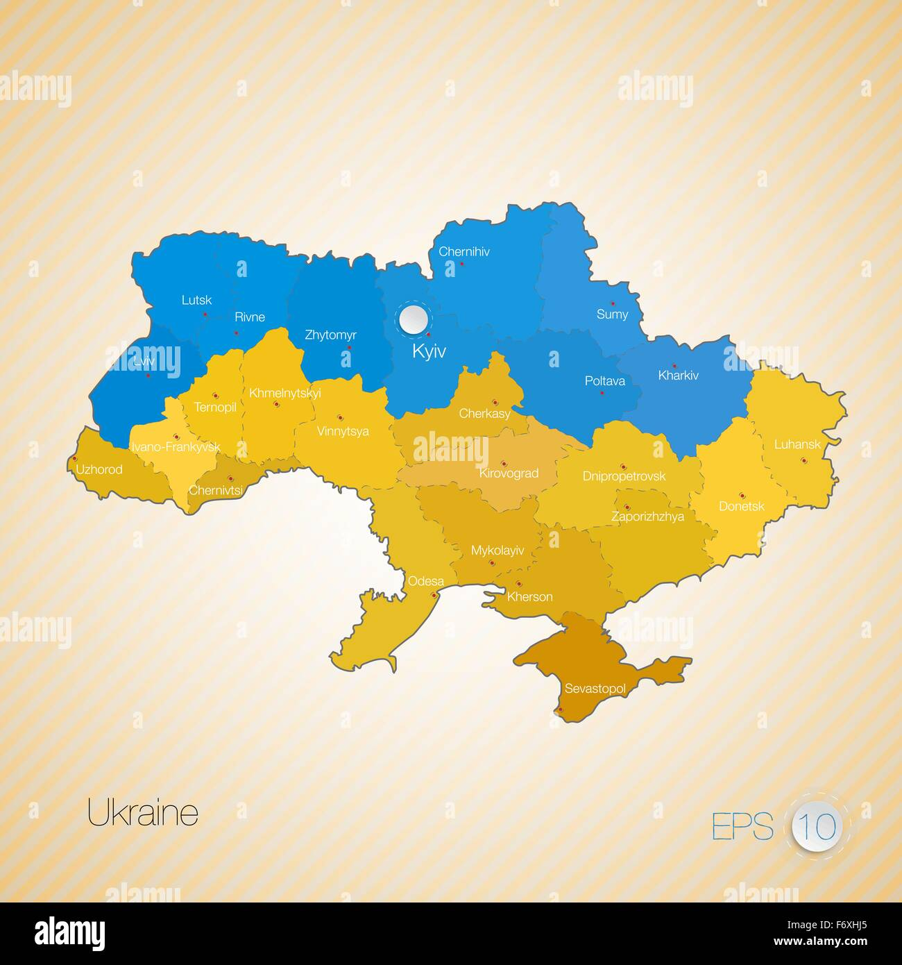Map and flag of Ukraine with divisions. Vector illustration. - Stock Image