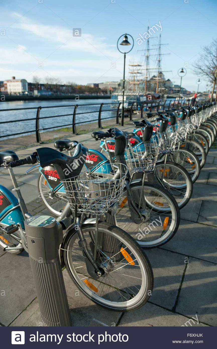 Dublin Ireland Bicycle sharing scheme sponsored by Cola Zero - Stock Image
