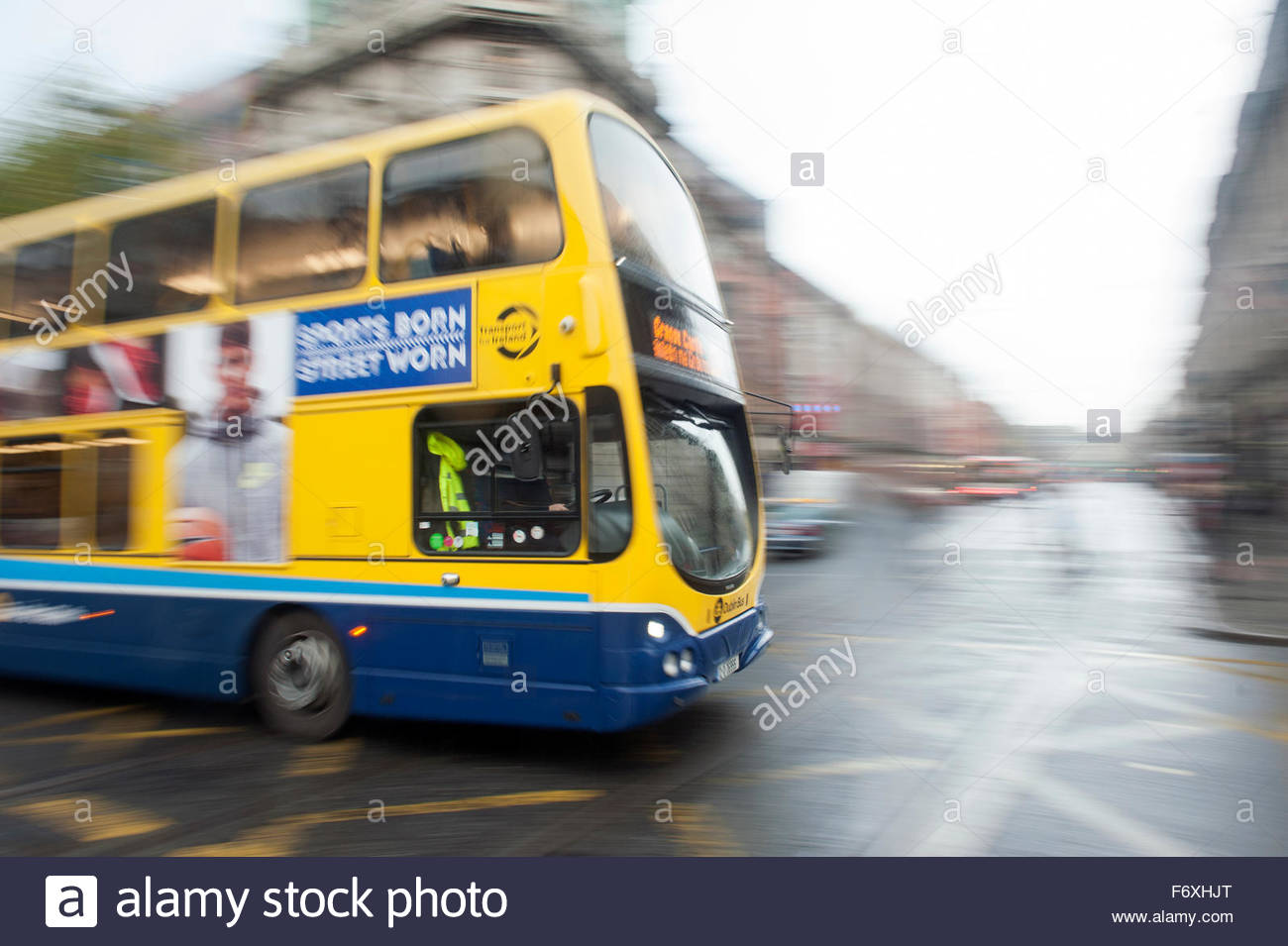 Dublin Ireland Double decker bus operated by Dublin Bus in motion. - Stock Image