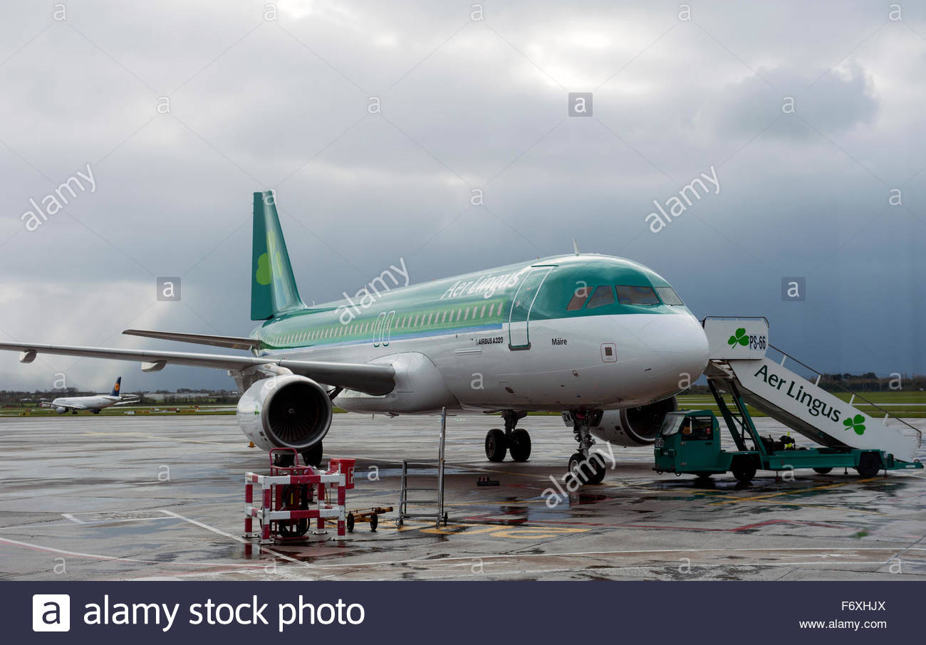 Dublin Ireland Aer Lingus A320 on the apron at Dublin Airport - Stock Image