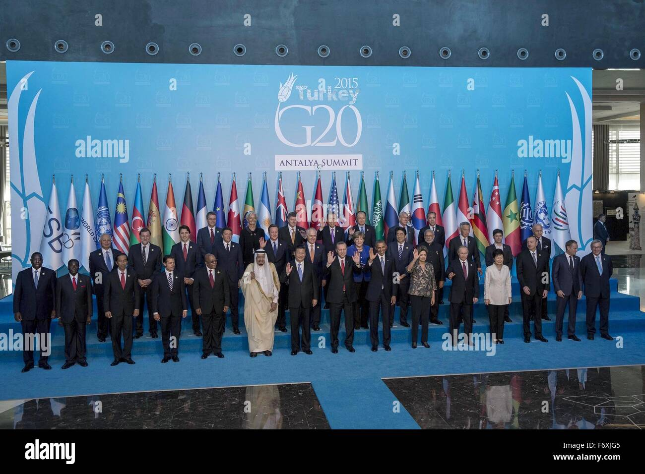 U.S. President Barack President Barack Obama joins the G20 Summit leaders for a group photo during the G20 Summit - Stock Image