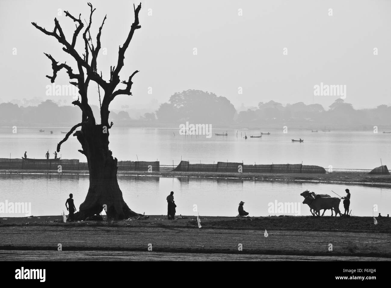 Landscape of Amarapura, Myanmar, Across the Irrawaddy River - Stock Image