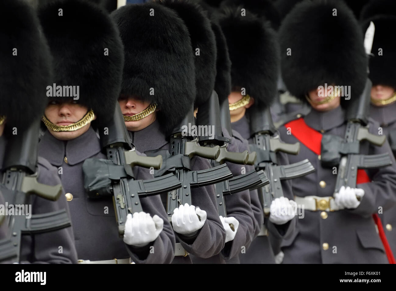 London, England, UK. F company, the Scots Guards, leaving Whitehall after forming a guard of honour for the Indian - Stock Image