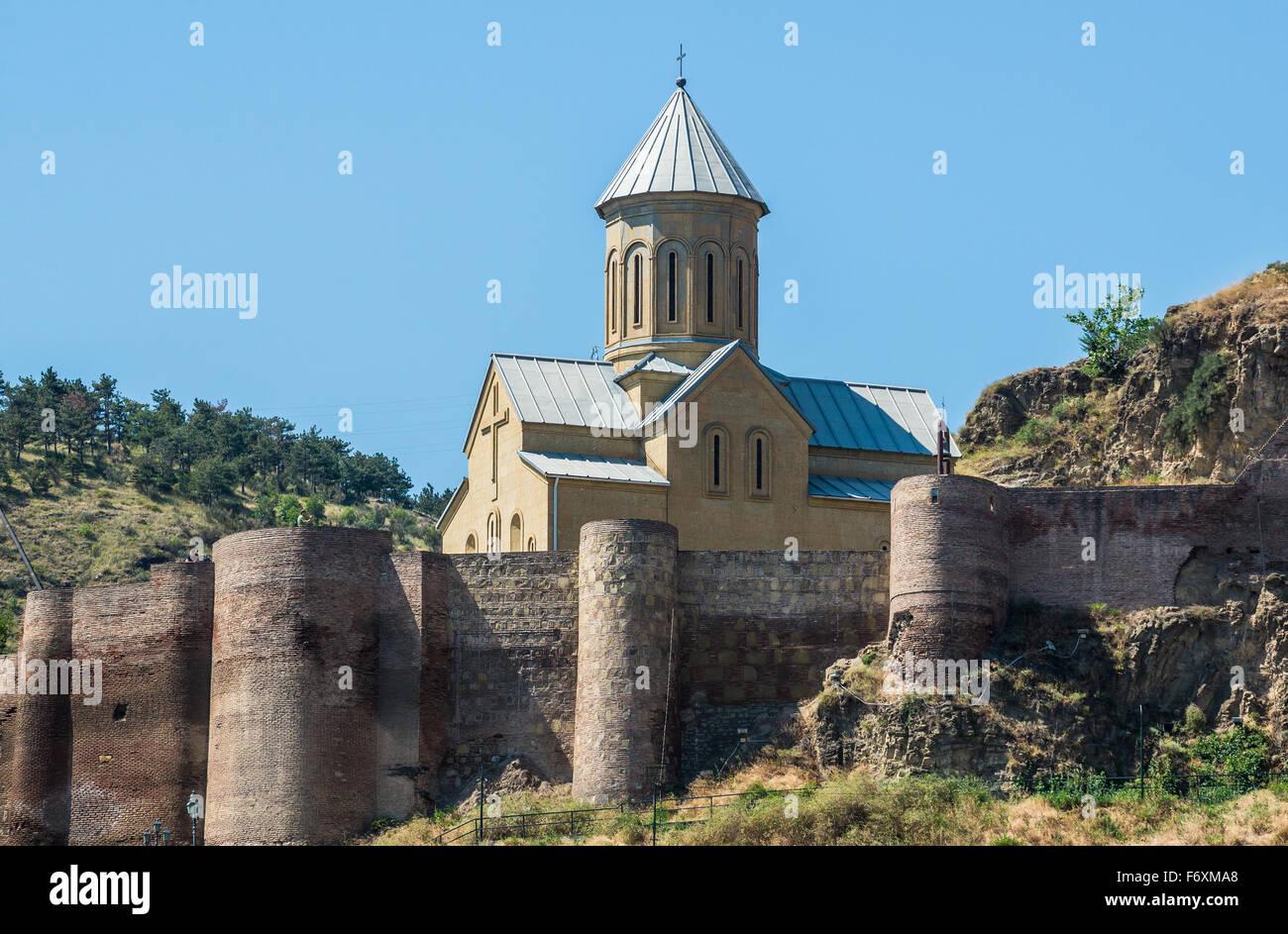 Narikala Fortress walls and St Nicholas church in Tbilisi, capital of Georgia Stock Photo