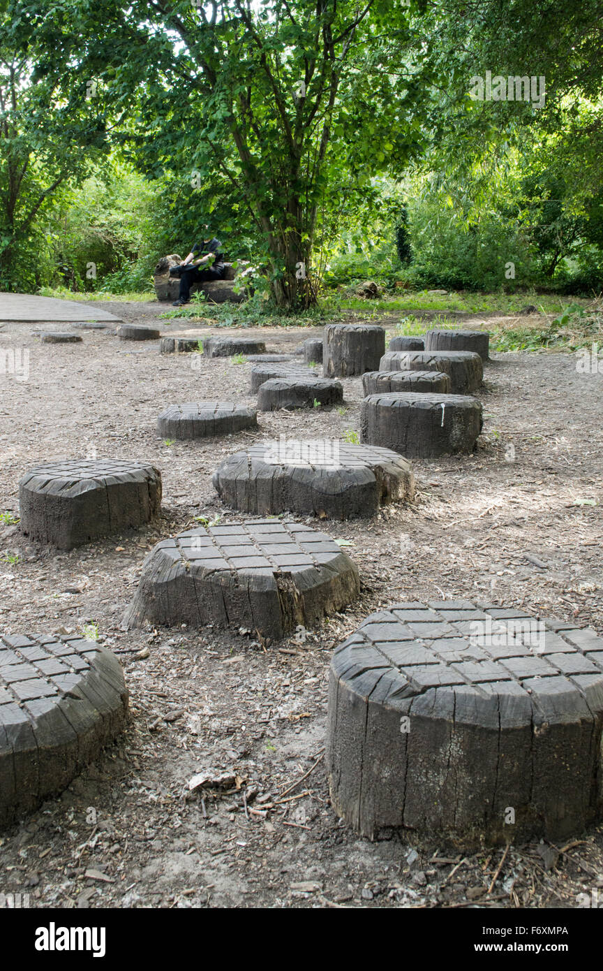 Wooden stepping stumps in a park - Stock Image