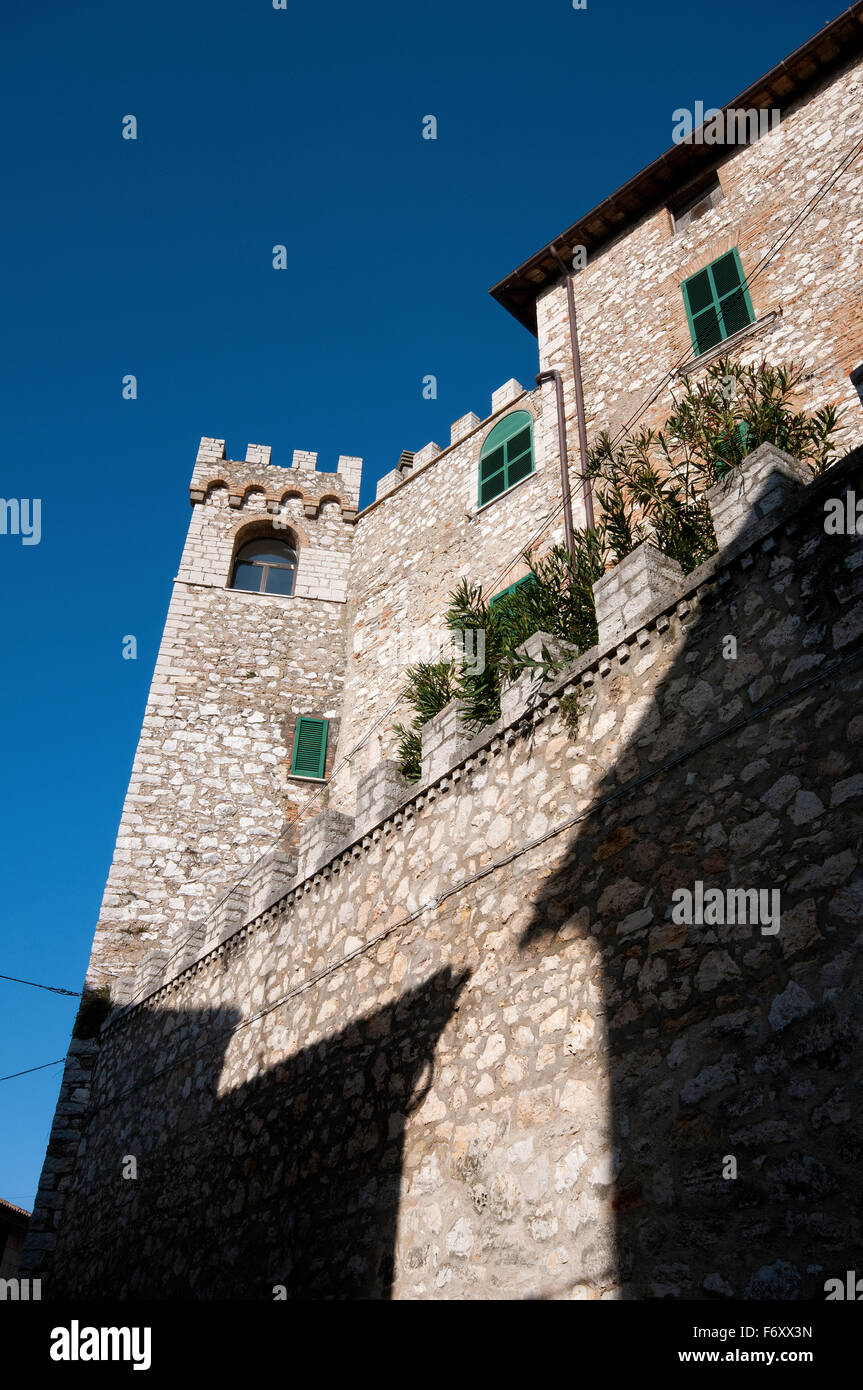 Ancient wall and tower in Montecchio, Terni, Umbria, Italy Stock Photo