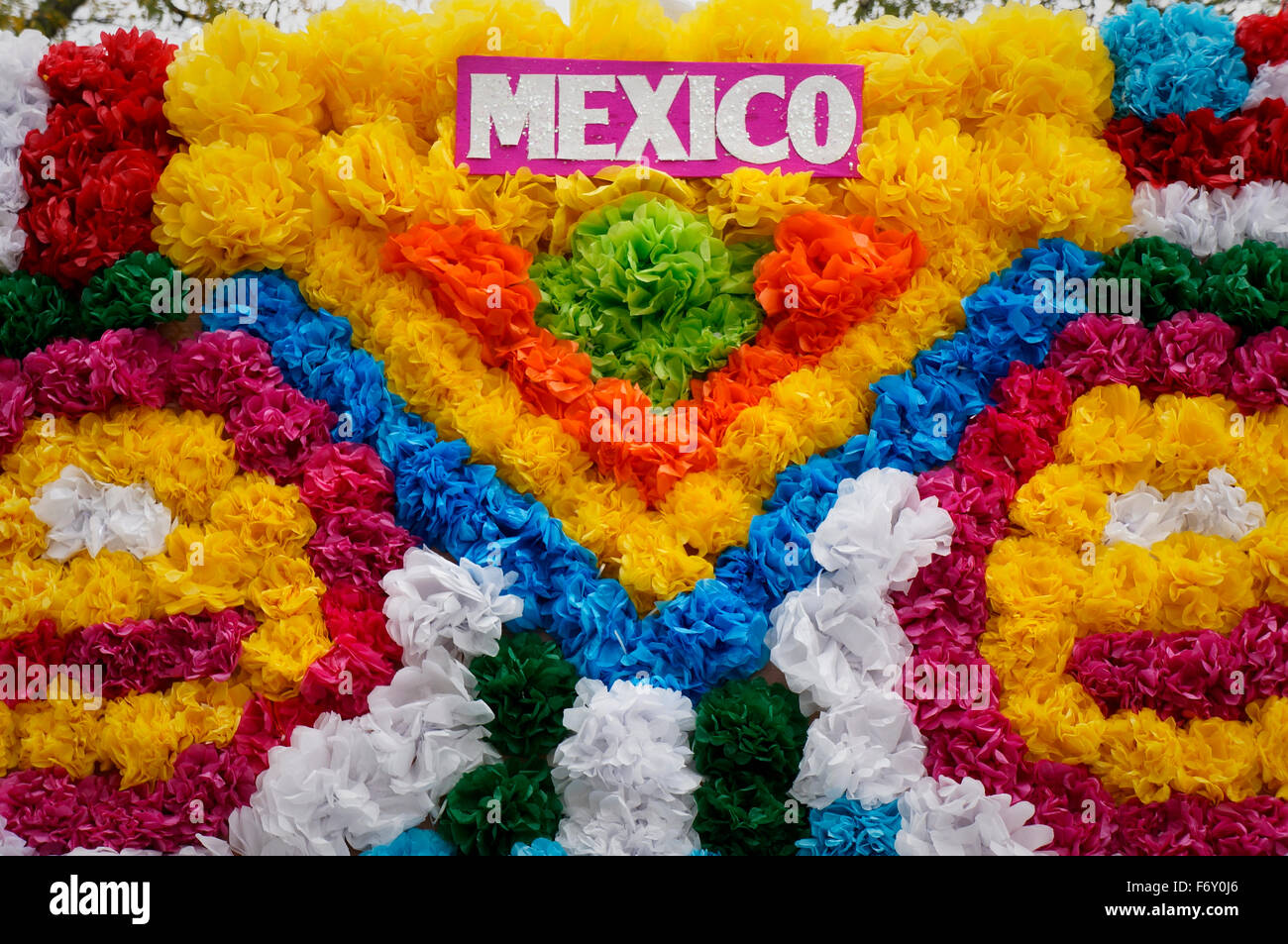 crepe paper flowers on mexican parade float stock photo 90332990