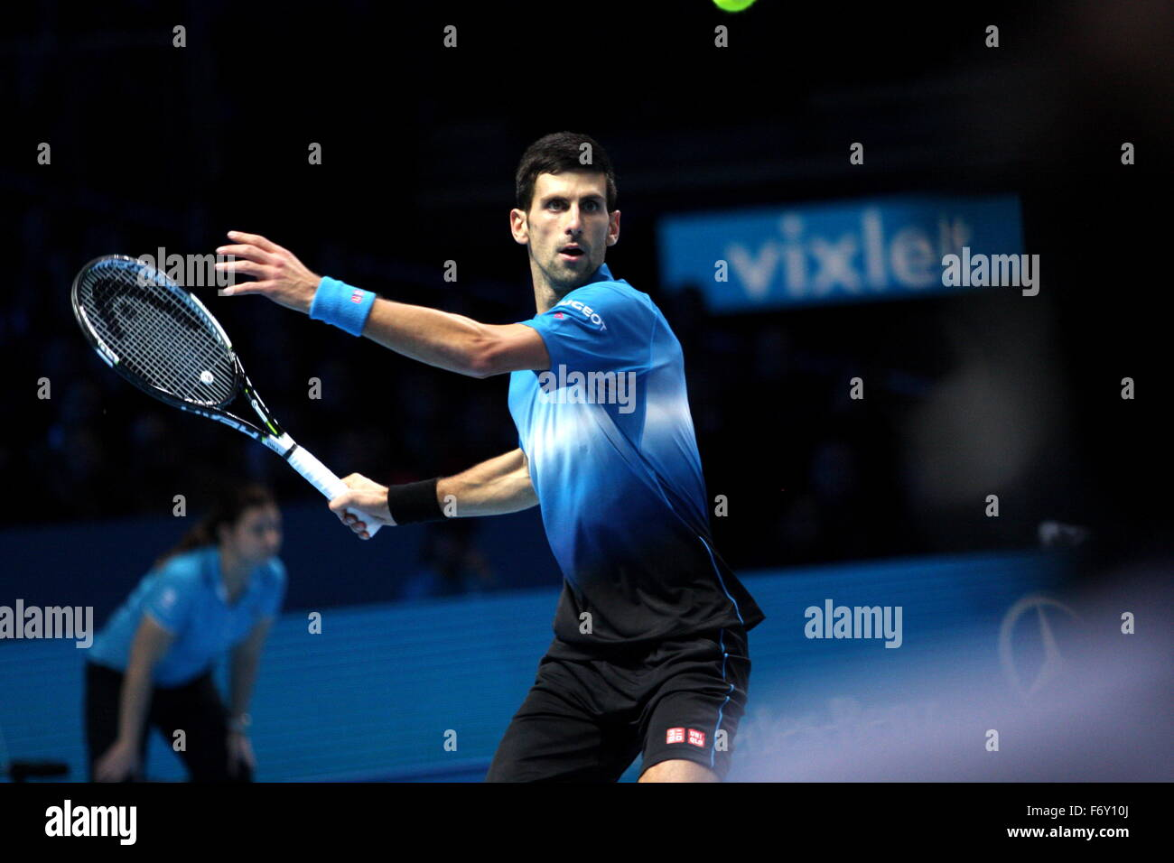 London, UK. 21st Nov, 2015. Barclays ATP World Tour Finals, Novak Djokovic (SRB) on his way to win against Rafael - Stock Image