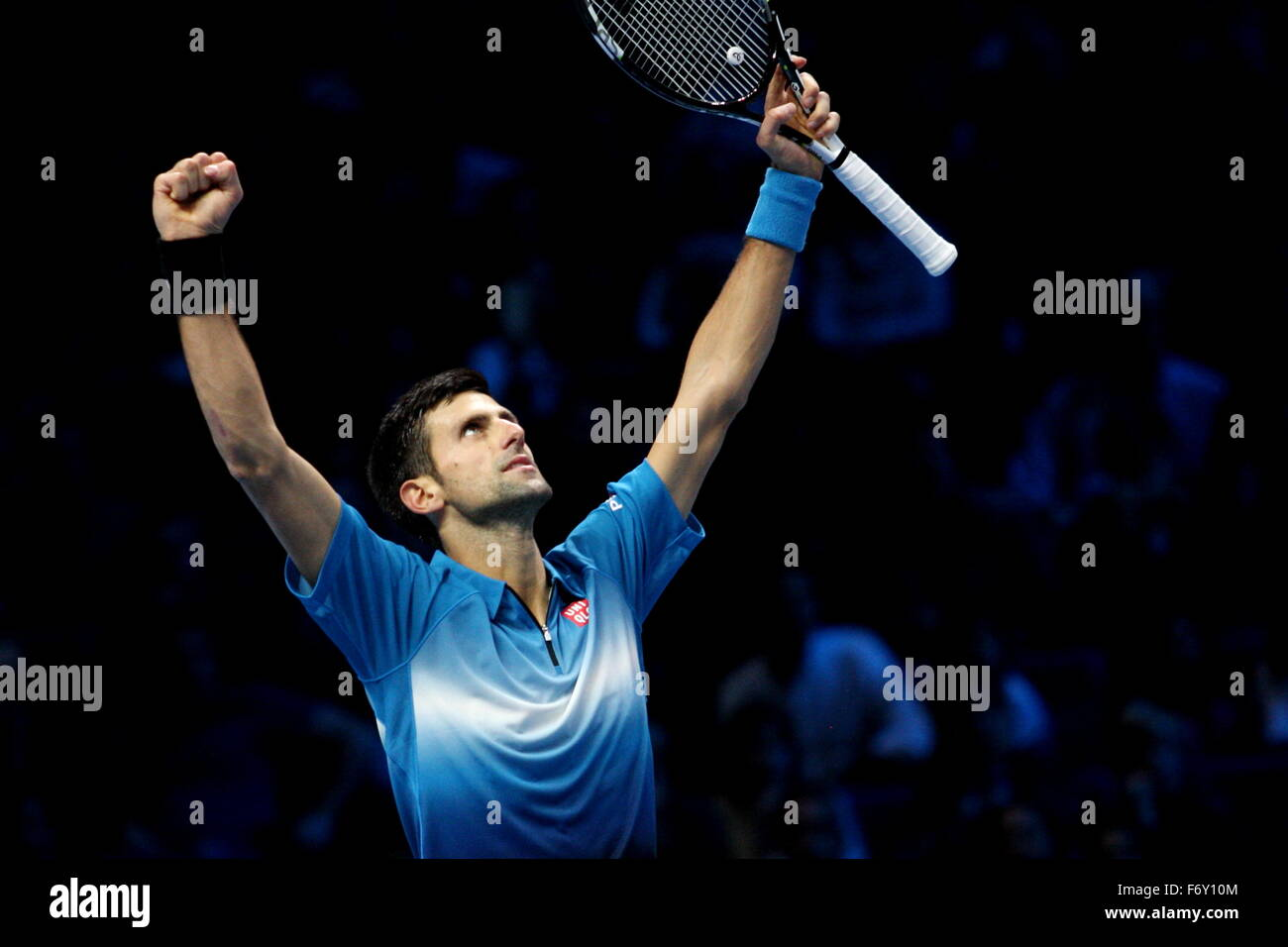 London, UK. 21st Nov, 2015. Barclays ATP World Tour Finals, Novak Djokovic (SRB) celebrates on court after his win - Stock Image