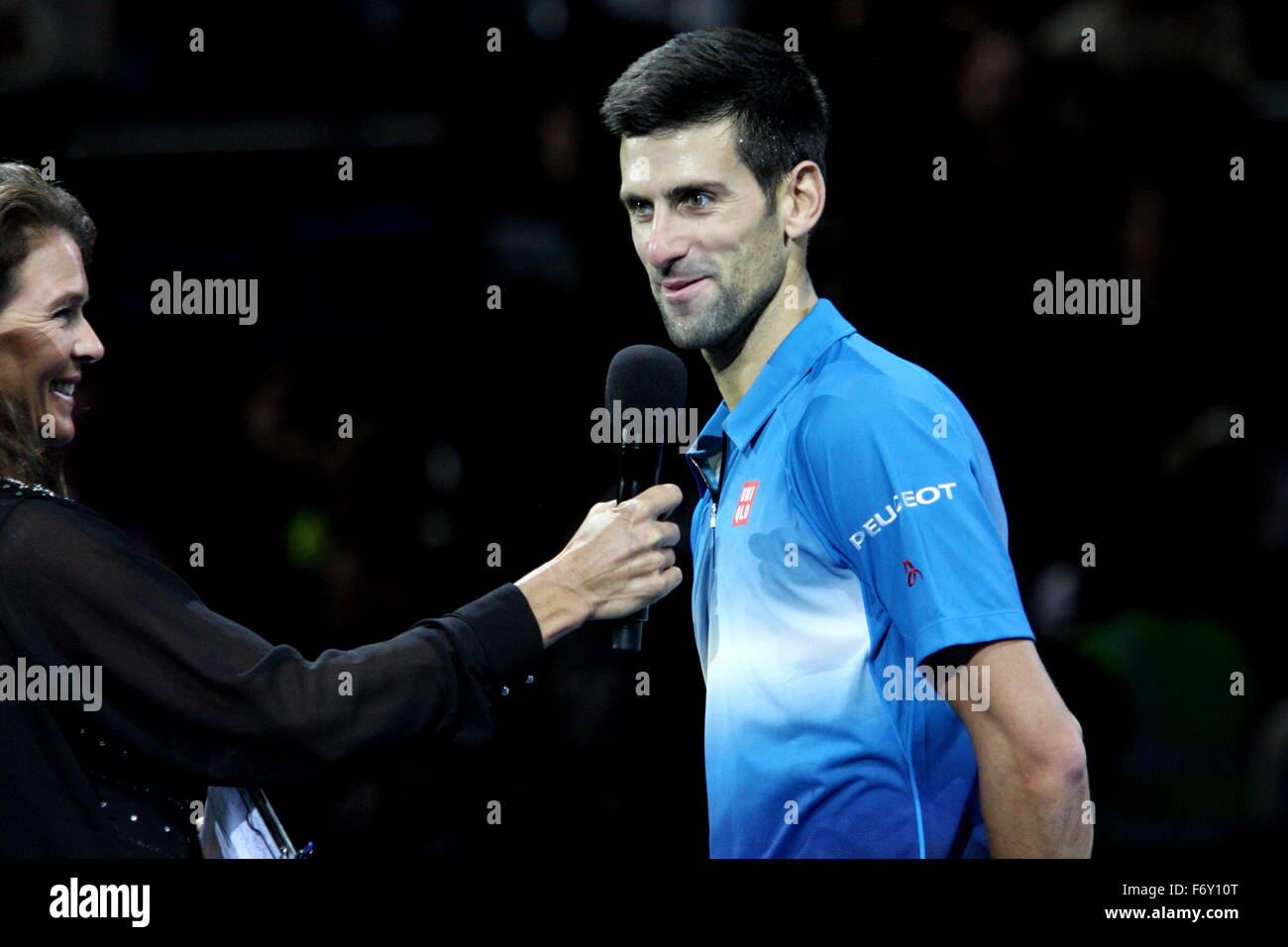 London, UK. 21st Nov, 2015. Barclays ATP World Tour Finals, Novak Djokovic (SRB) being interviewed on court after - Stock Image