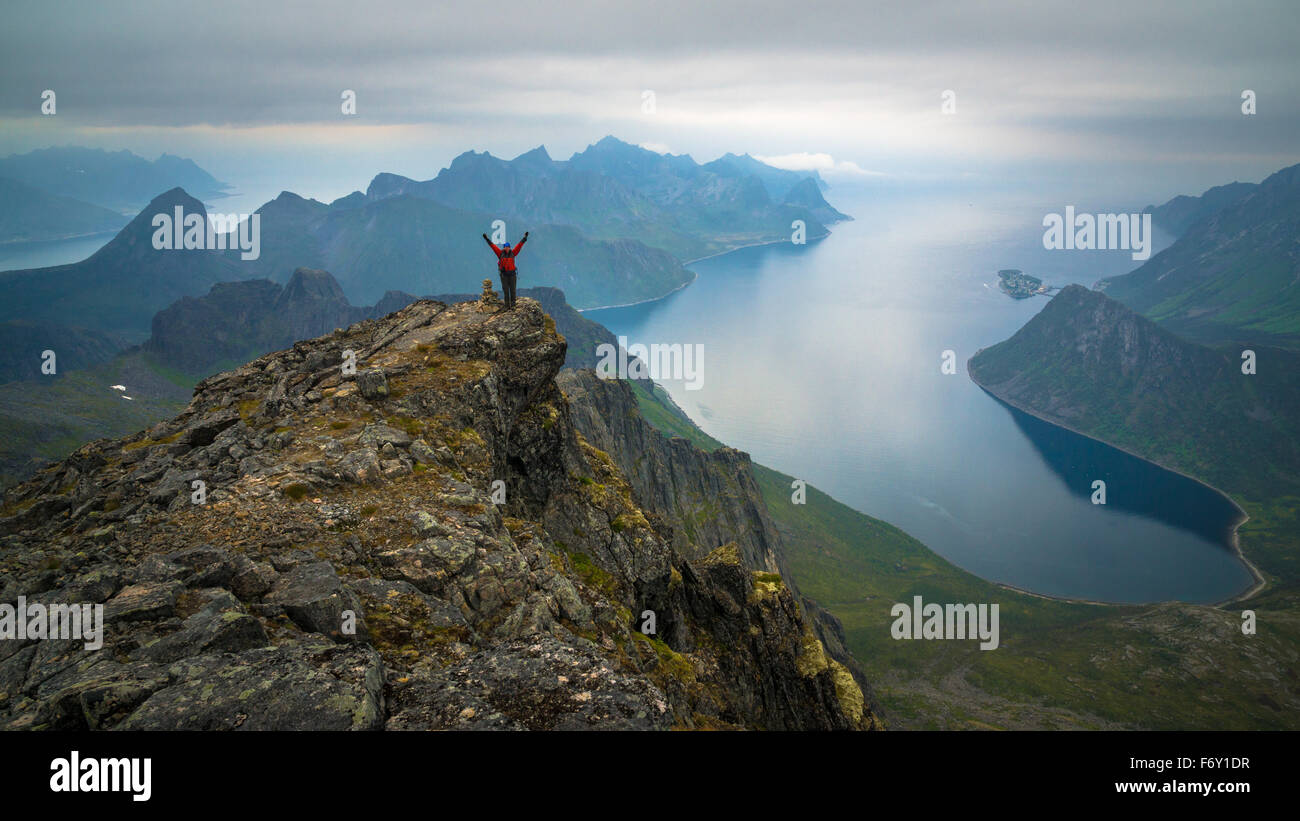 Magnificent view over the fjords from Keipen, Senja Northern Norway. - Stock Image