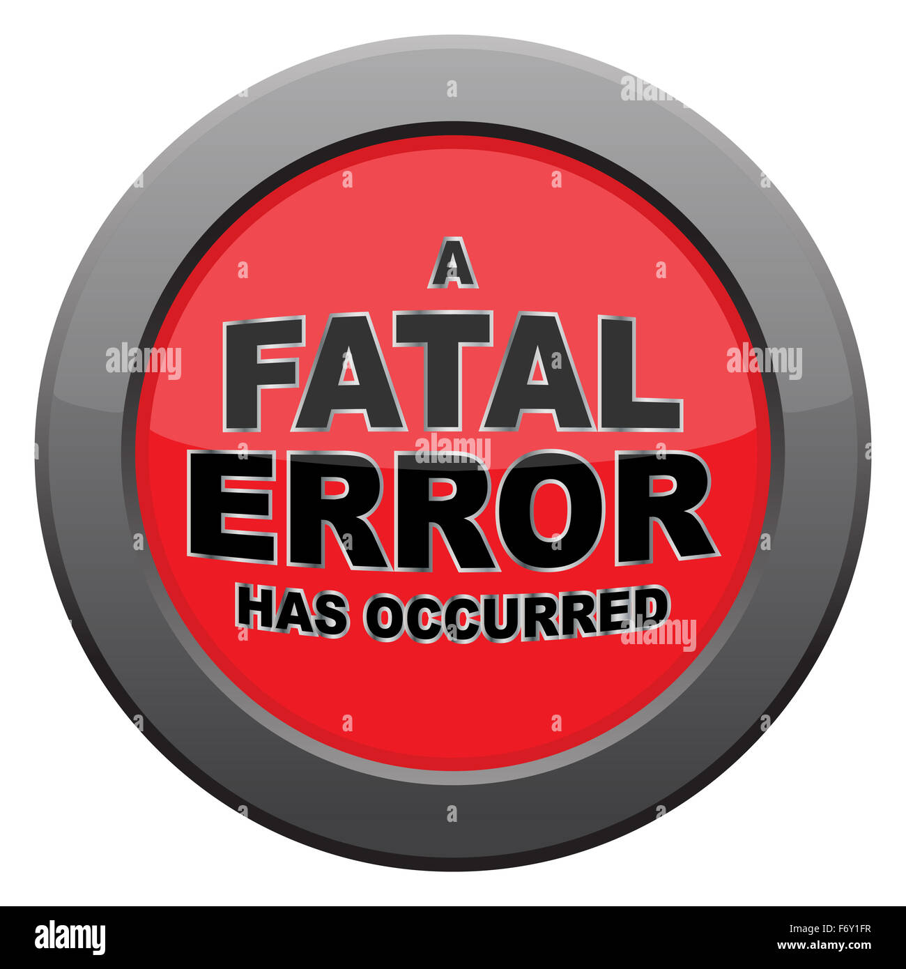 A fatal error icon isolated on a white background - Stock Image