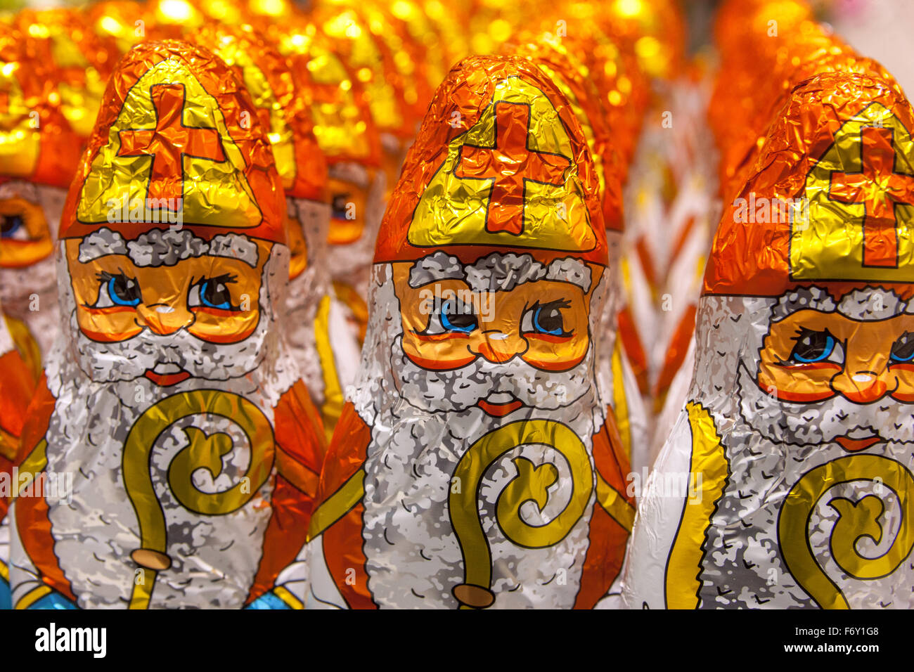 Chocolate figures of Saint Nicholas displayed in a supermarket. Stock Photo