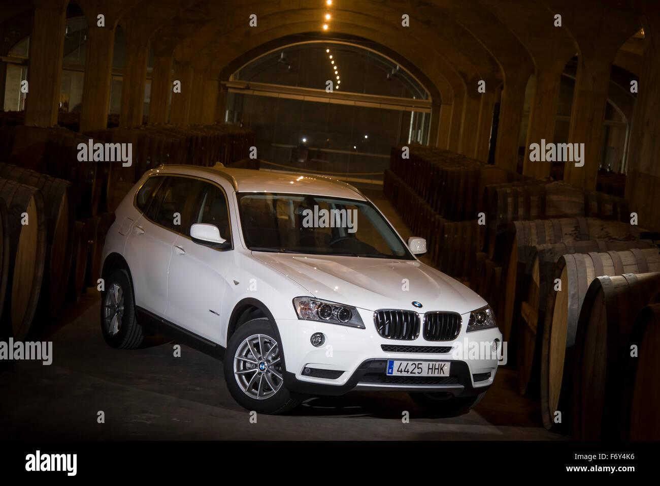 BMW X5 in the wine cellar called BSI in Jumilla, Spain - Stock Image