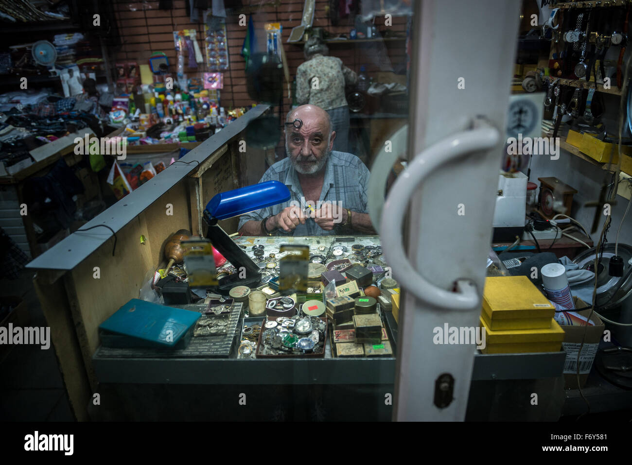 clockmaker worksop in Tbilisi, capital of Georgia - Stock Image