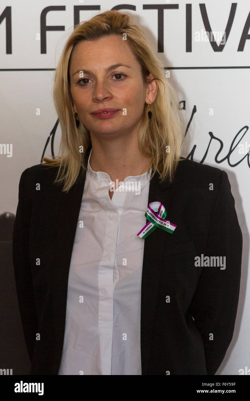 "Turin, Italy. 21st Nov, 2015. Producer Faye Ward presents the movie ""Suffragette"" at Torino Film Festival. Credit: Stock Photo"